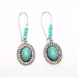 Faux Turquoise Silver Tone Southwest Drop Earrings